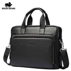 BISON DENIM Echtem leder Aktentaschen 14 Laptop Handtasche herren Business Umhängetasche Messenger/Schulter Taschen für Männer n2333-3