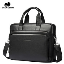 "BISON DENIM Genuine leather Briefcases 14"" Laptop Handbag Men's Business Crossbody Bag Messenger/Shoulder Bags for Men N2333-3(China)"