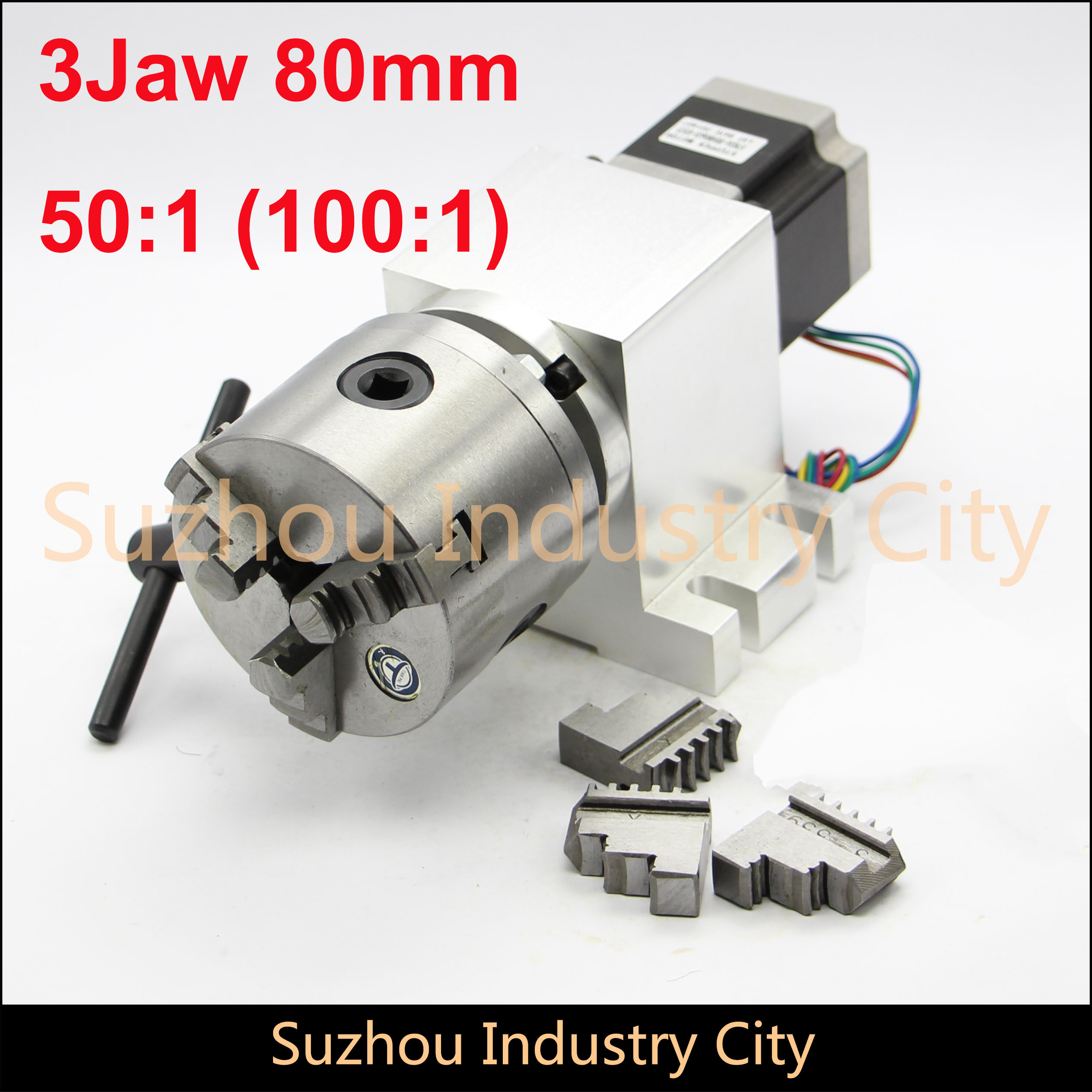 80mm CNC 4th Axis  CNC Dividing Head/Rotation Axis/A Axis Kit Nema23 Gapless Harmonic Gearbox For CNC Woodworking Machine