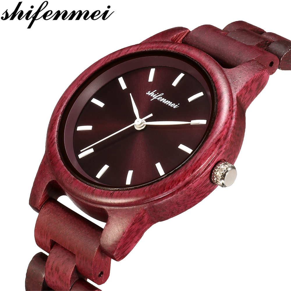 Shifenmei S5571 Natural Wood Women Watches With Deer Head Engrave Dial With Strap Simple Female Quartz Womens Watch