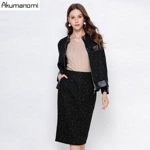 Image 2 - Ensemble survêtement, ensemble 2 pièces pour femme, noir, grande taille 5xl, 4xl, 3xl, col, haut à manches longues, jupe veste, deux pièces