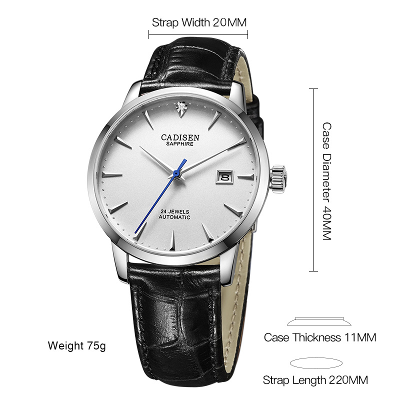 Image 2 - CADISEN Men Watches Automatic Mechanical Wrist Watch MIYOTA 9015 Top Brand Luxury Real Diamond Watch Curved Sapphire Glass Clock-in Mechanical Watches from Watches