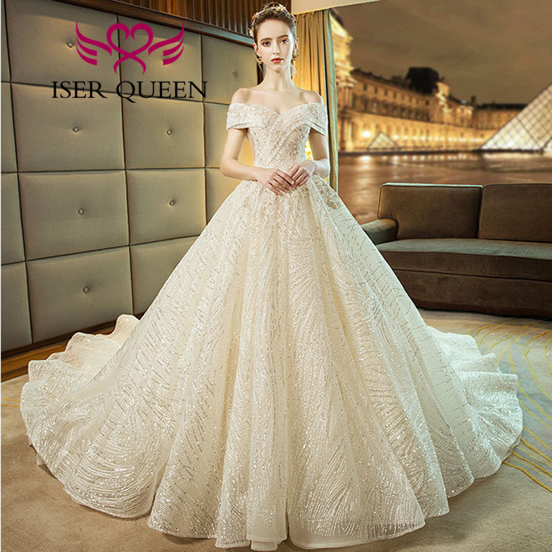 Cap Sleeve Sequin Lace Ball Gown Wedding Dresses 2020 Lace Up Back Europe Fashion Bride Dress WX0062