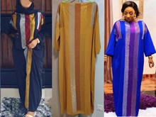 طول الفستان: 145 سنتيمتر فساتين موضة جديدة بازين طباعة Dashiki المرأة طويلة/نمت Yomadou اللون نمط المتضخم