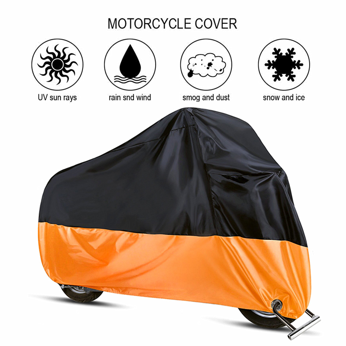 Waterproof Motorcycle Cover Protect Rain Dust UV Motocycle Case 190T Outdoor Motorbike Protector Elastic Hem L/XL/2XL/3XL/4XL