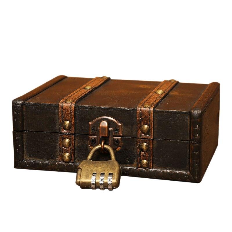 Wooden Storage Jewelry Box Vintage Wood Box With Metal Lock Wedding Gift