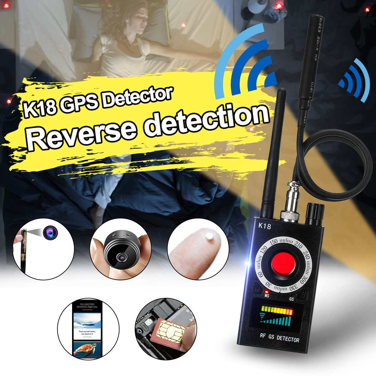 K18 Multi-function Anti-spy Detector Camera GSM Audio Bug Finder GPS Signal Lens RF Tracker-Detect Wireless 1MHz-6.5GHz