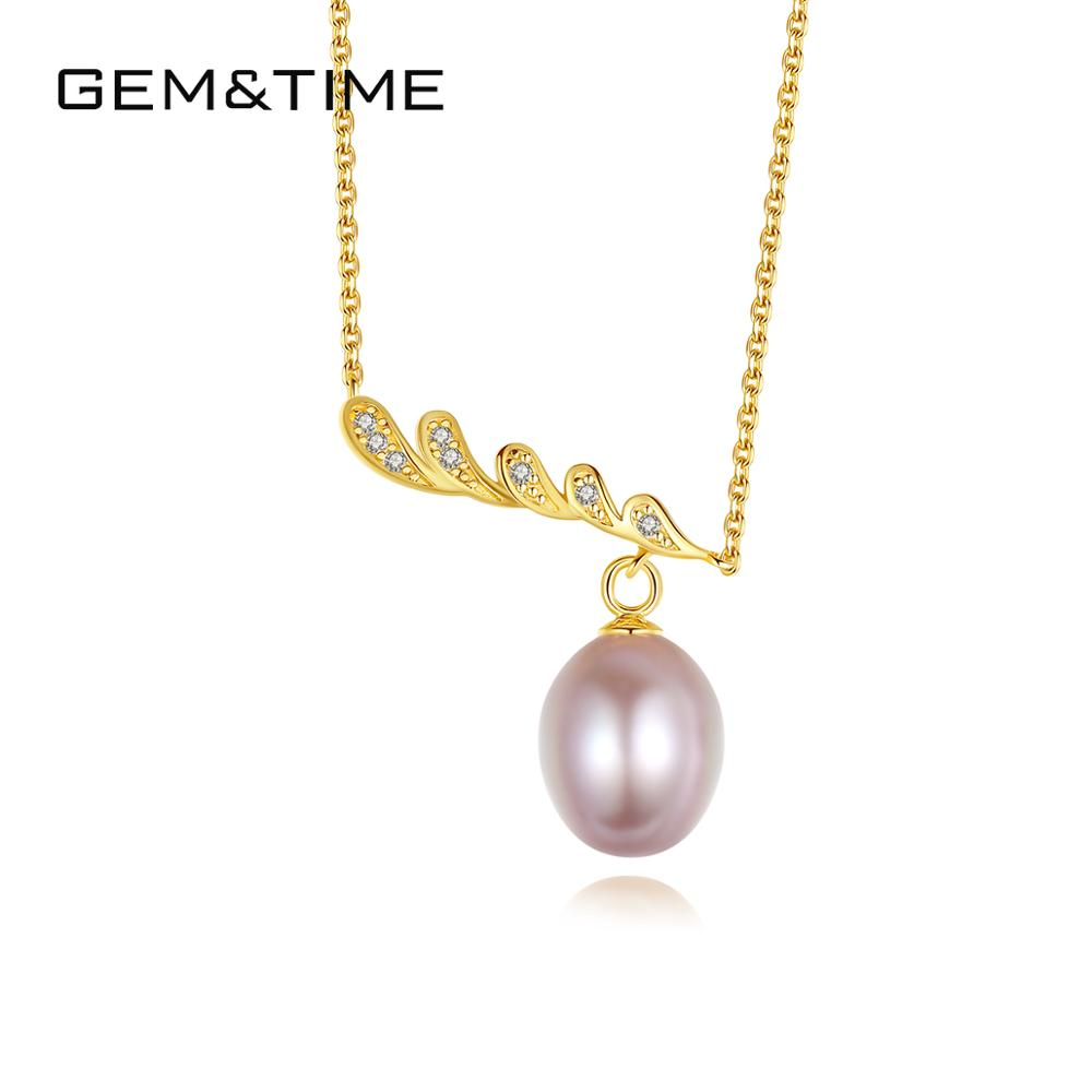 Gem&Time Natural Freashwater Pearls Hanging Pendant Necklace 925 Sterling Silver Necklace For Women Wedding Statement Gifts(China)