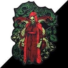 Нашивка для Байкерской куртки с цветочным принтом змеей черепом