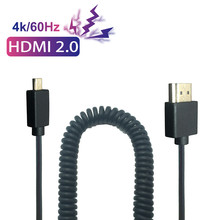 OD 3.2mm Ultra Slim 4k*2k 60Hz Micro HDMI to HDMI 2.0 Cable 0.3M 1.2M Male to Male Stretch Spring Curl Flexible Cable