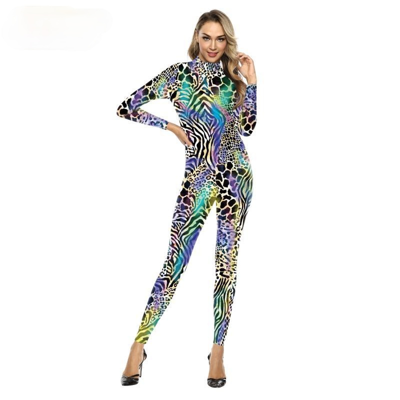 New Arrival Psychedelic 3D Printed Snake Cosplay Jumpsuit Carnival Party Clothes Halloween Costume For Women Outfits Bodysuits