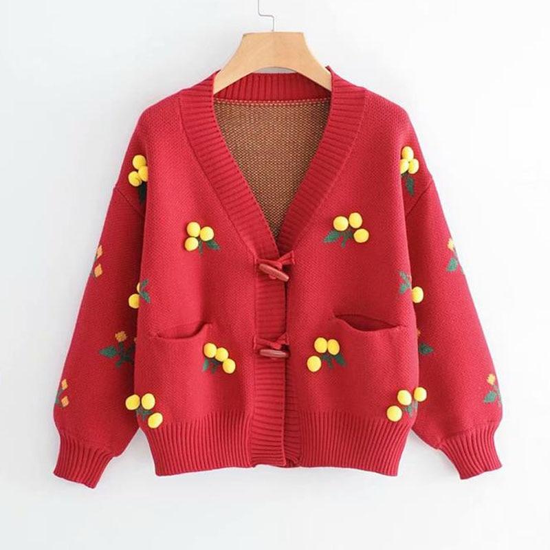 Небольшой свежий колледж Ветер вязаный женский кардиган вышивка v образным вырезом с длинными рукавами теплый свитер, куртка 2019 осень новый свитер P40