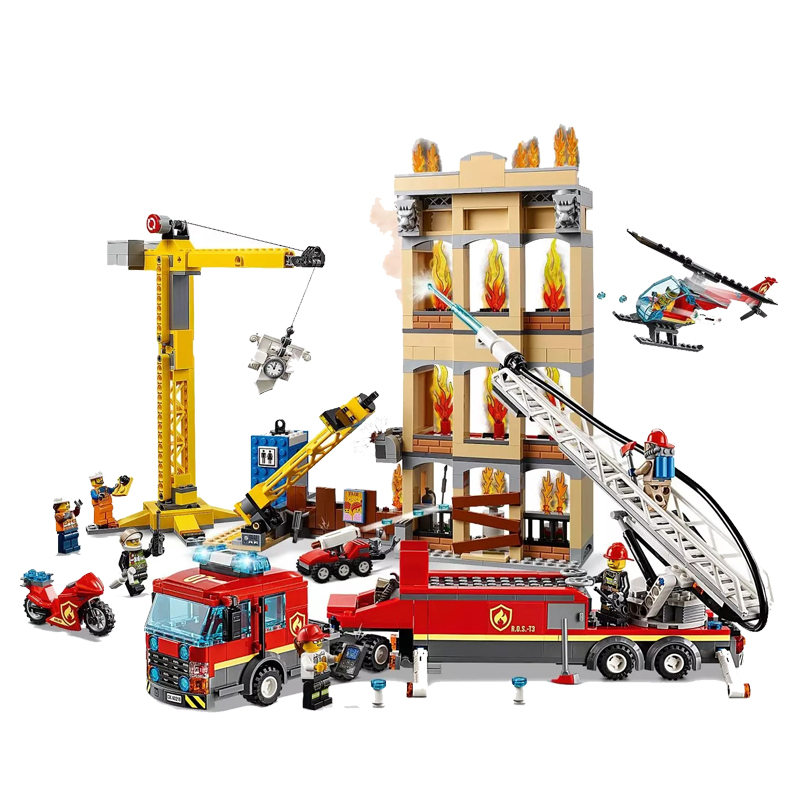 2019 Downtown Fire Brigade Ladder Truck Crane Helicopter Compatible Legoingly City 60216 Building Blocks Gift Toys for Children