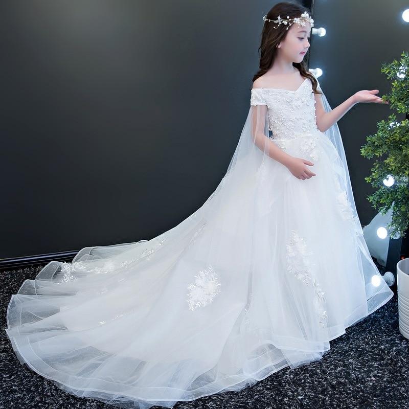 Girls Wedding Dress White Princess Skirt Big Kid Catwalks Evening Gown Flower Boys/Flower Girls Puffy Yarn Tailing CHILDREN'S Pi