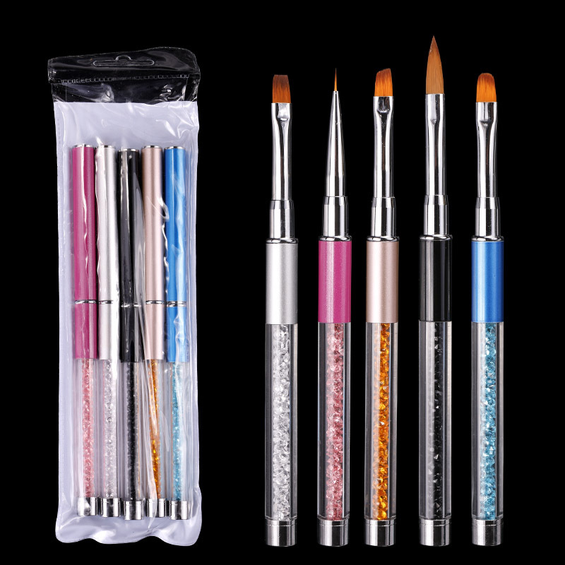 CYSHMILY 5Colors Nail Pen Colorful Rhinestone Acrylic Handle Carving Nail Brush For Gel Powder Remover Nail Art Manicure Tools