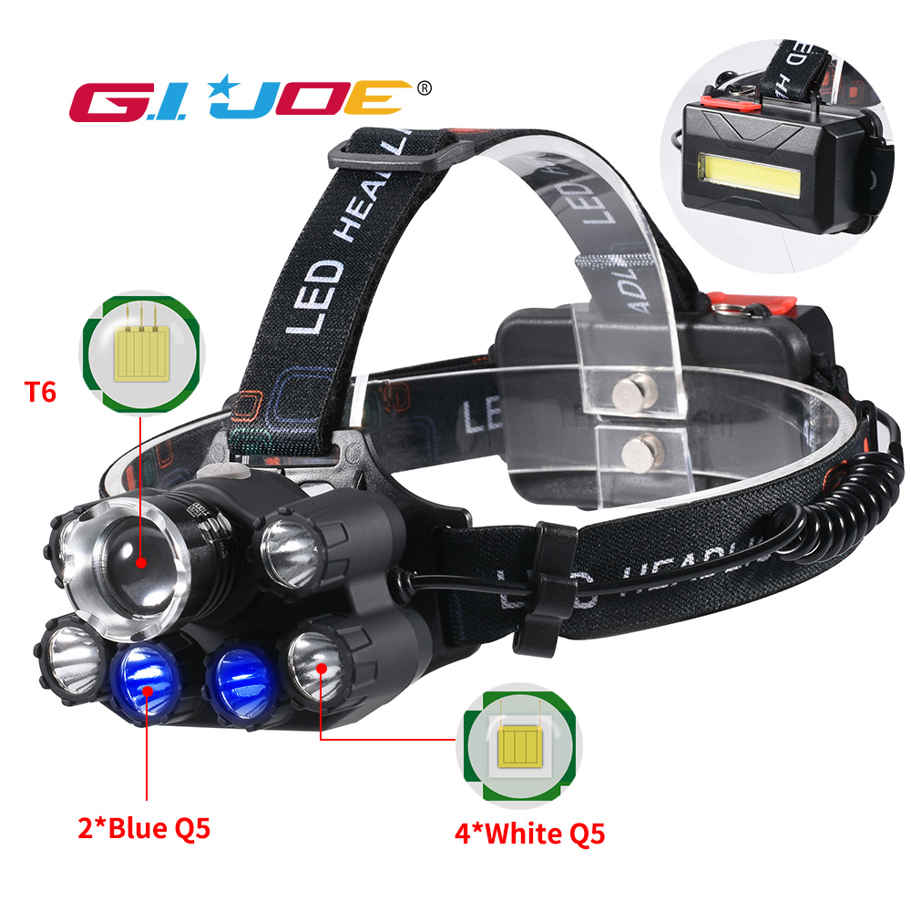 GIJOE led headlight T6 headlamp waterproof uv black light 2 18650 battery plastic multifunction camping hiking hunting light