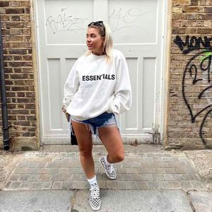 Wear of God fog essentials double line front letter high solution style fashion brand loose High Street long sleeve Hoodie for