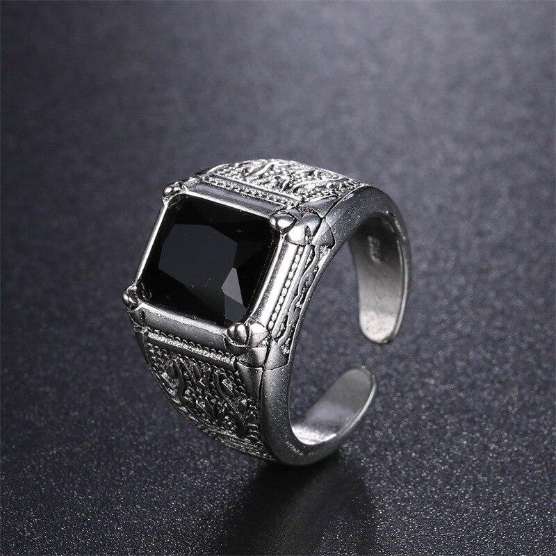 Wedding-Rings Open-Jewelry Crystal Sterling-Silver Women Flower Black Men's No for Man