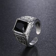 High Quality Black Crystal Retro Flower Sterling Silver Men's Wedding Rings Cheap Finger Ring No Fade Open Jewelry For Man(China)