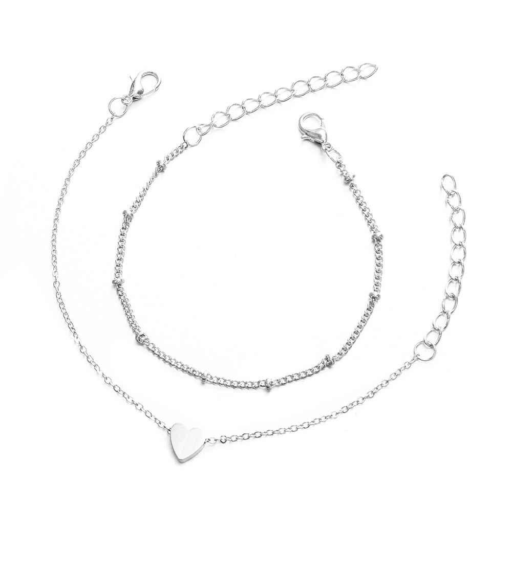 2 sztuk/zestaw minimalistyczny złoty kolor srebrny mała miłość Link Chain bransoletki dla kobiet przyjaźń miłość Charm bransoletki bransoletki biżuteria