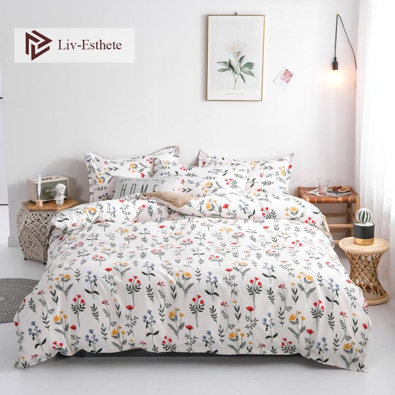 Liv Esthete Fashion Flower Bedding Set Simple Duvet Cover Bedspread Flat Sheet Pillowcase Single Double Queen
