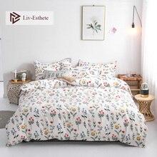 Liv-Esthete Fashion Flower Bedding Set Simple Duvet Cover Bedspread Flat Sheet Pillowcase Single Double Queen King Bed Linen