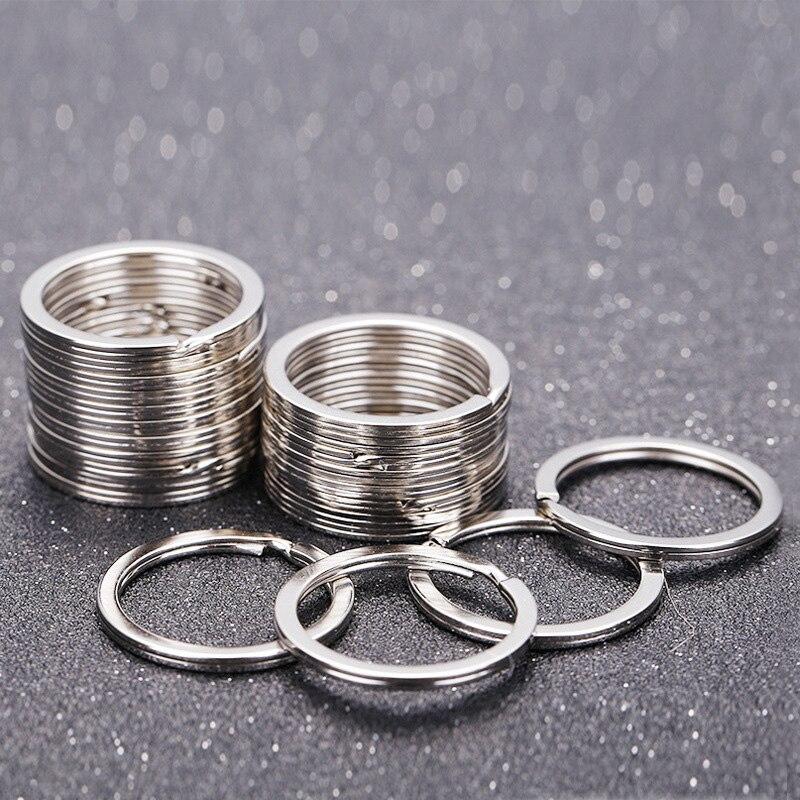 100 pces chave do anel superior prata cor chaveiro plana anéis para chaveiro redondo 25mm diy rachado chaveiros jóias llaveros hombre chaveir