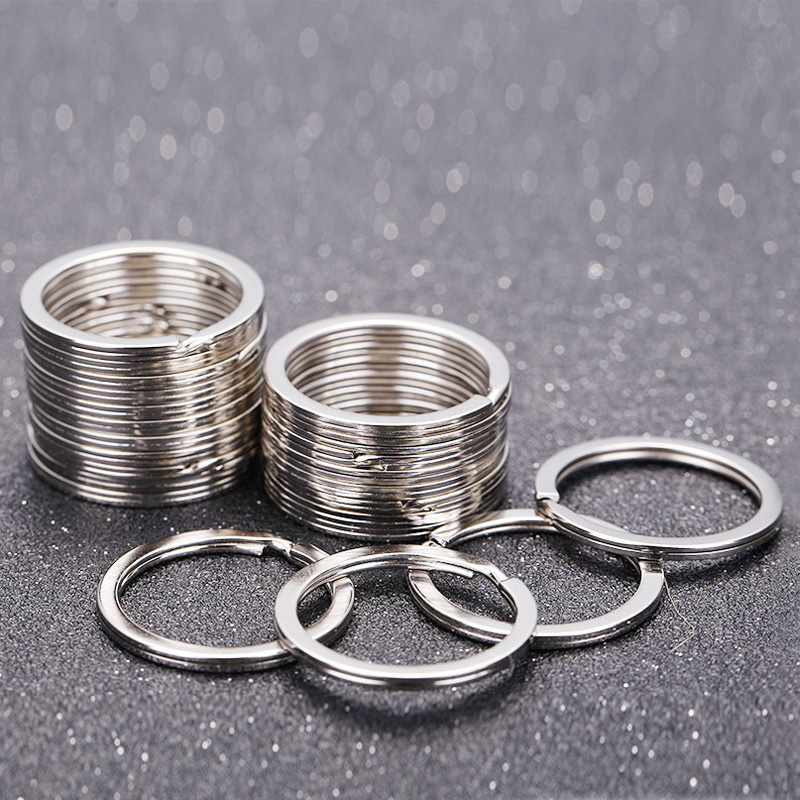 100Pcs Key Ring Top Silver Key Chain Flat Rings For Keychains Round 25mm Diy Split Keyrings Jewelry Llaveros Hombre Chaveir