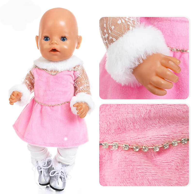 High Quality Skating Set 17 Inch 43cm Doll Clothes Born Baby Doll Clothes Dress For Baby Birthday Festival Gift