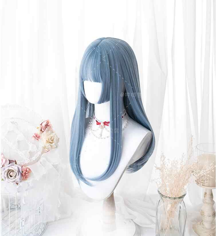 Peluca azul Lolita Harajuku Cosplay largo y dulce flequillo pelo sintético para niñas adultas