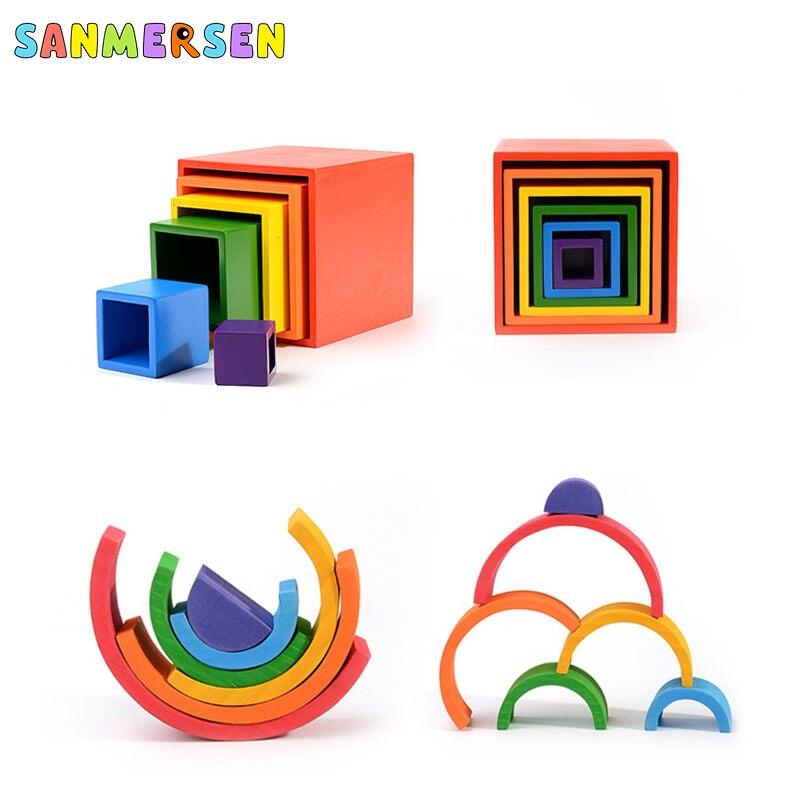 tamanho grande criativo de madeira arco-íris blocos