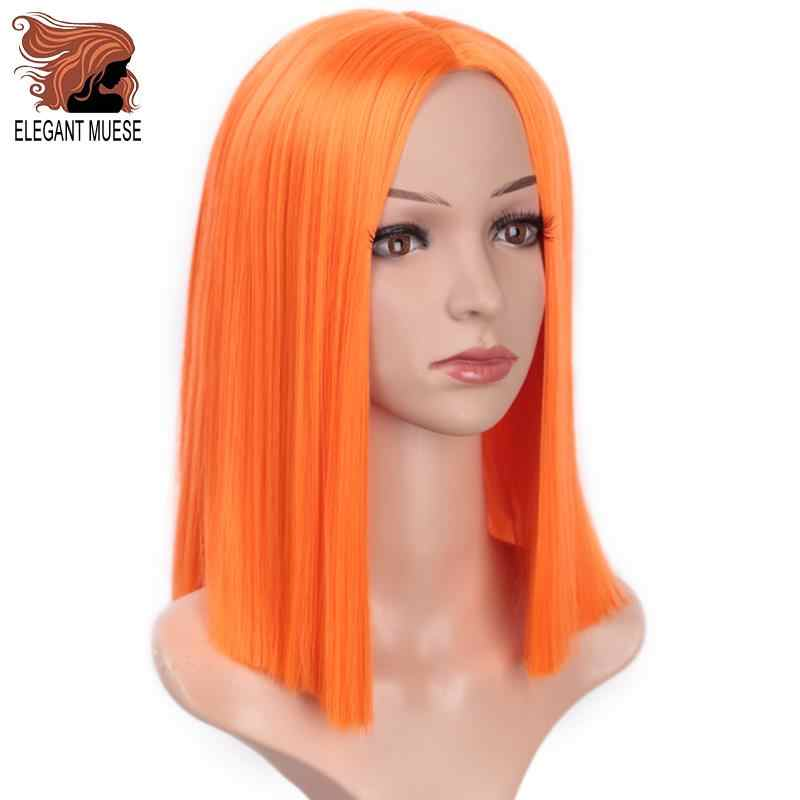 ELEGANT MUSES Bob Synthetic Wigs Short Straight Purple Yellow Orange Pink For Women 12 Inch Middle Part Glueless Cosplay Wigs