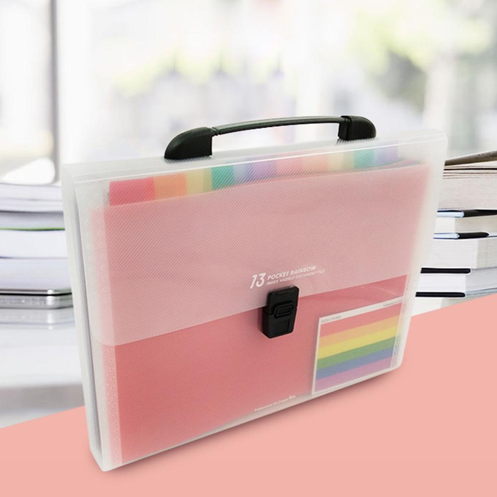 Plastic A4 Document Bag File Folder Organizer Bag Case For Documents Exam Paper File 13 Pockets Extension Wallet Bill