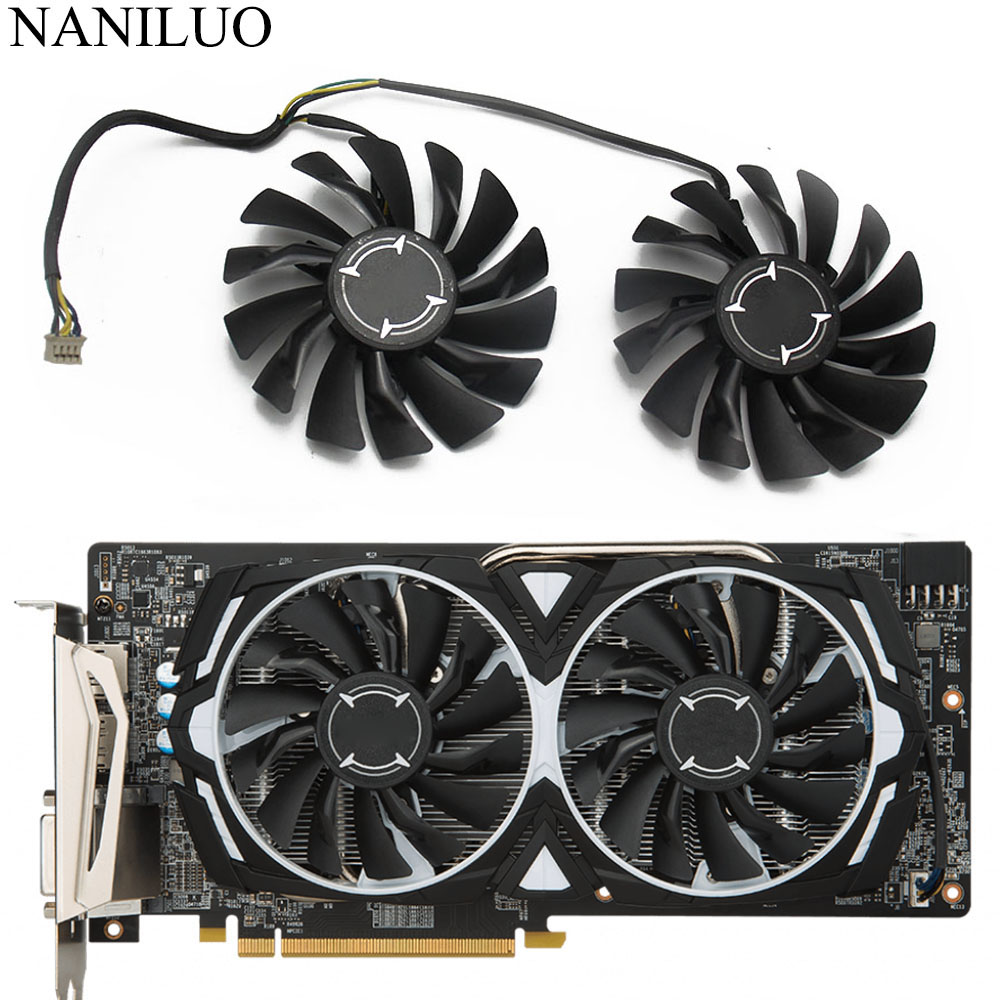2PCS Cooler Fan for MSI RX470 480 570 580 GTX1080 1070 1060 960 GAMING Card Sets
