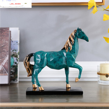 chinese-style-green-resin-horse-furnishings-set-golden-elephant-crafts-home-decoration-accessories-living-room-office-gift