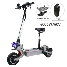 цена на FLJ 6000W Electric Scooter with Dual engines 11inch off road 60V double drive Korea Electric Scooter