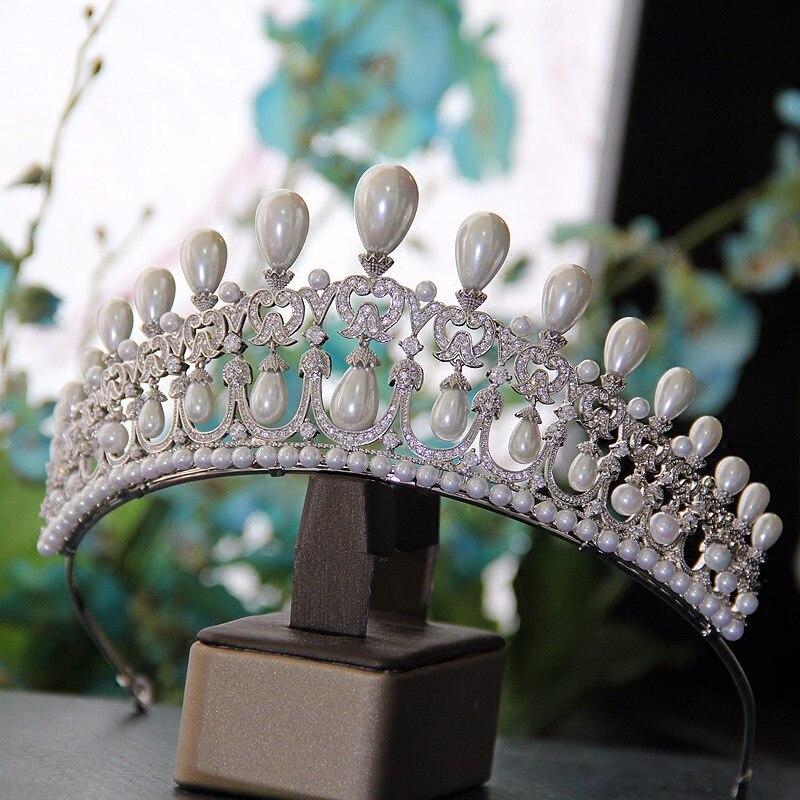 Couronne de princesse en pierre de Zirconium et diadèmes de luxe Vintage grande perle couronne robe de mariée accessoires diadème pour les femmes