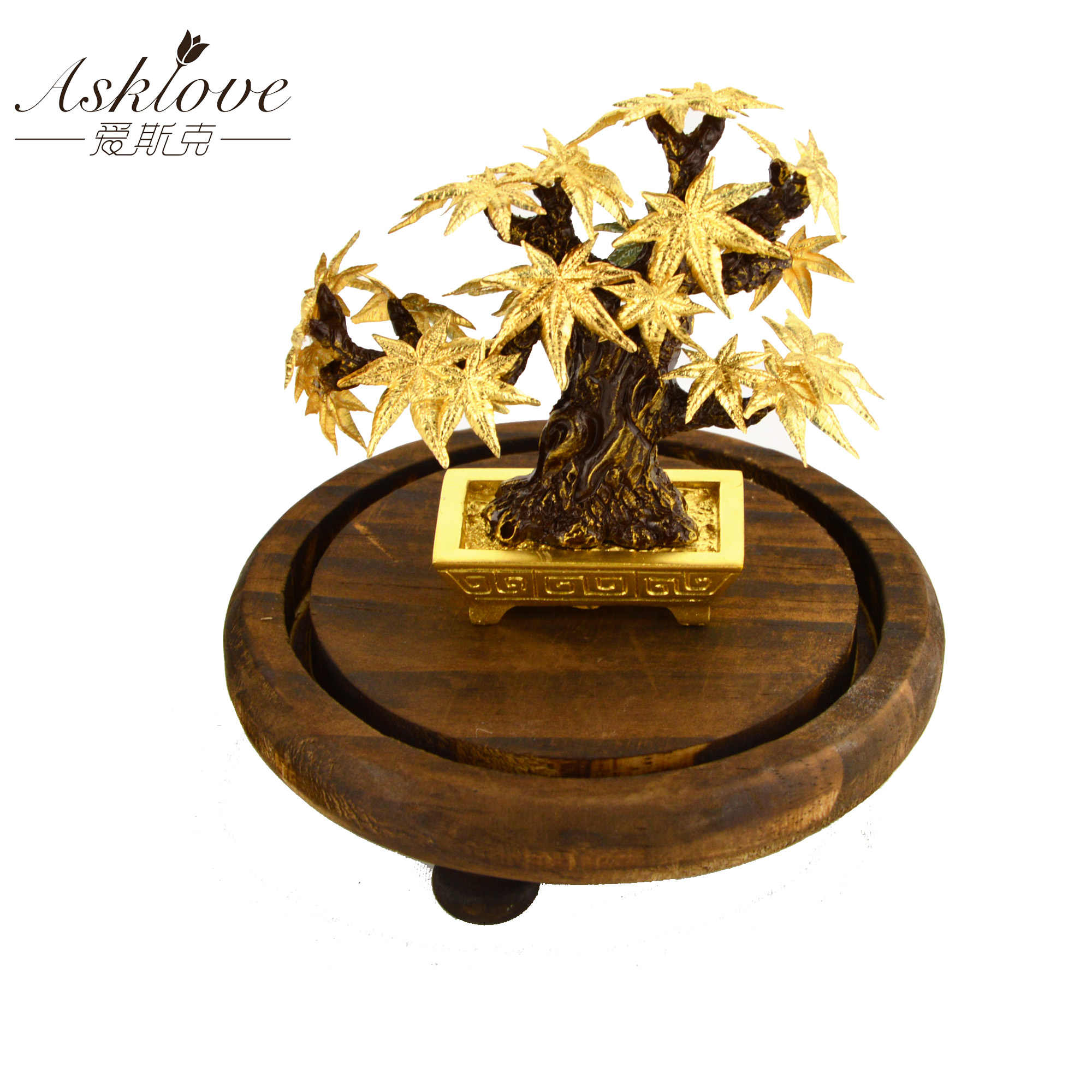 Esdoorn Bonsai Feng Shui Decor Lucky Rijkdom Ornament 24 K Goud Folie Maple Leaf Office Desktop Ornamenten Home Decoratie geschenken
