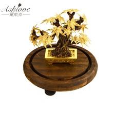 מייפל עץ בונסאי פנג שואי דקור מזל עושר קישוט 24k זהב עלה אדר רדיד משרד שולחן העבודה קישוטי עיצוב הבית מתנות