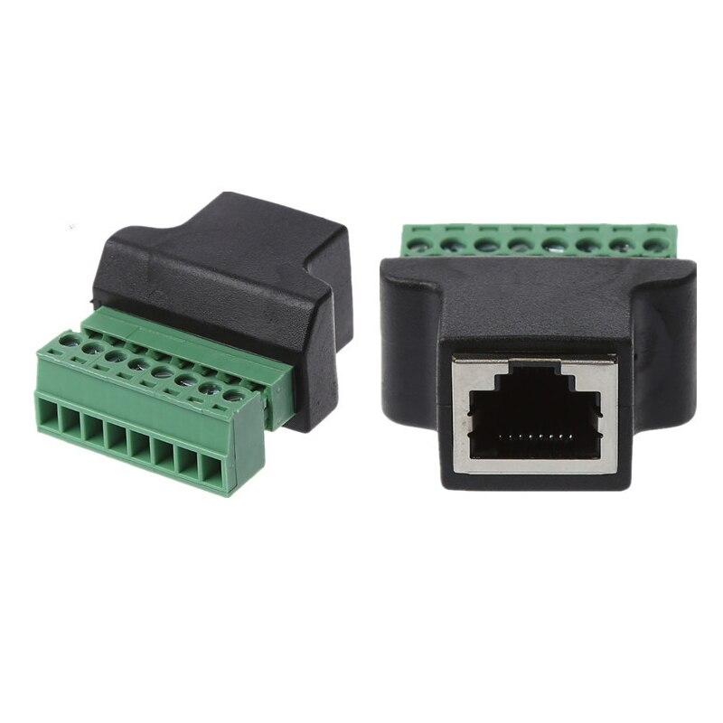 Rj45 ethernet fêmea para 8 pinos parafuso terminal conector adaptador bloco de cabo tomada de rede para cctv digital dvr jack