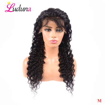 Brazilian Deep Wave Glueless Lace Front Human Hair Wigs For Black Women Pre Plucked 13*4 Lace Front Wig With Baby Hair Remy Ludu