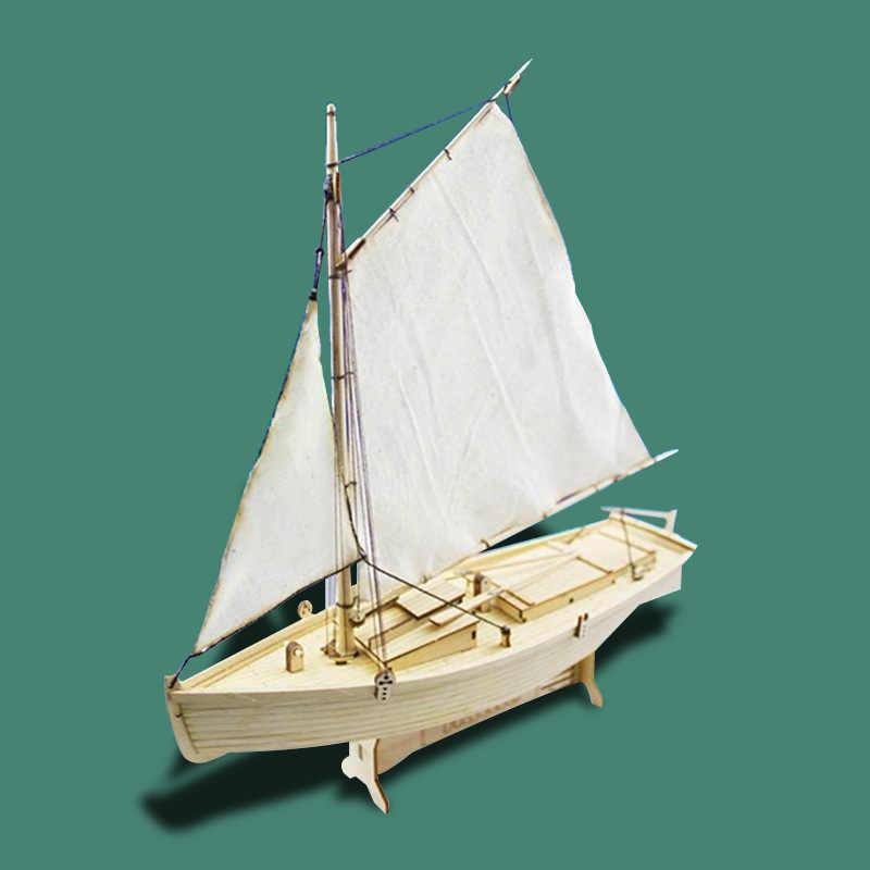 Fei rechts Geen. Hout Gemonteerd Zeilboot Model Kit DIY Oude Schip Speelgoed Gemonteerd Speelgoed Zeilboot Model