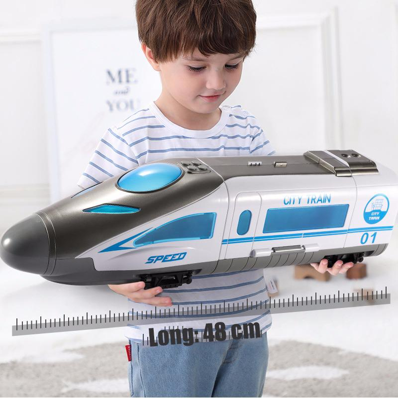High Speed Railway Train For Children's Toys Model Alloy Car Early Childhood Education Music With Lights Toy Collection Gift