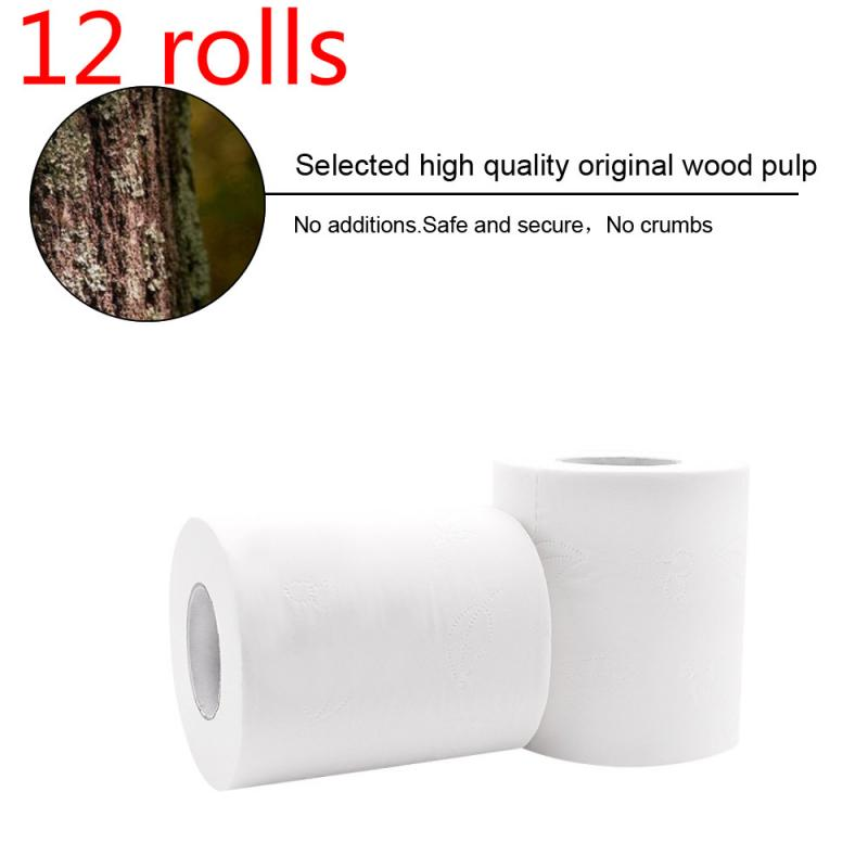 12 Rolls Strong Soft 3Ply Toilet Paper Bath Tissue Skin-friendly 4Ply Thickened Toilet Paper Household Clean Soft Paper US Hot