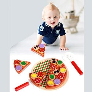 Image 2 - 27 sztuk udawaj zagraj w symulację drewniane Kichen cięcie pizzy zestaw zabawek do odgrywania ról gotowanie zabawki wczesny rozwój zabawki dla dzieci prezent