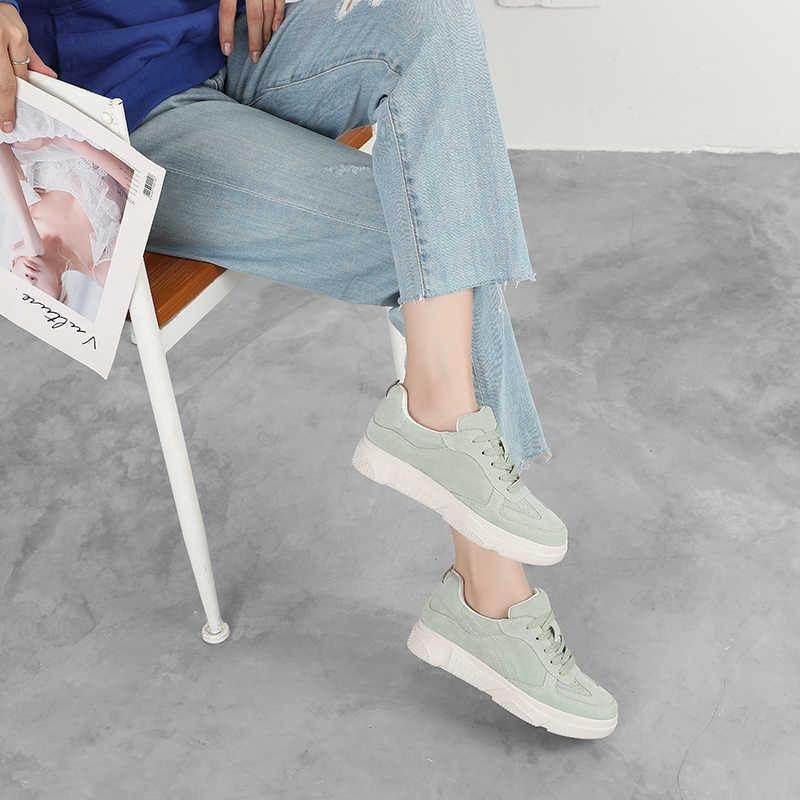 ספורט נוחות נשים נעלי לבן שרוכים מקרית דירות פלטפורמה להחליק על נעלי 2020 קיץ אופנה סניקרס נשים נעלי 932474