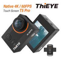 Cámara deportiva ThiEYE T5 Pro con transmisión en vivo WiFi cámara de acción Real 4K Ultra HD con Control remoto de distorsión EIS 60M impermeable
