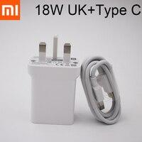 Xiaomi-cargador rápido de 18W, adaptador de corriente para Reino Unido, Cable USB tipo C para Mi 10, 10T Pro, 11, 9, 8, Note 10, Redmi Note 7, 8, K20, k30 Pro, K40