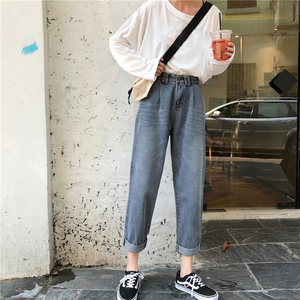 Image 3 - Jeans Women High Waist Loose Straight Leisure Ankle length All match Womens Jean Korean Style Simple Student Trendy Daily Chic
