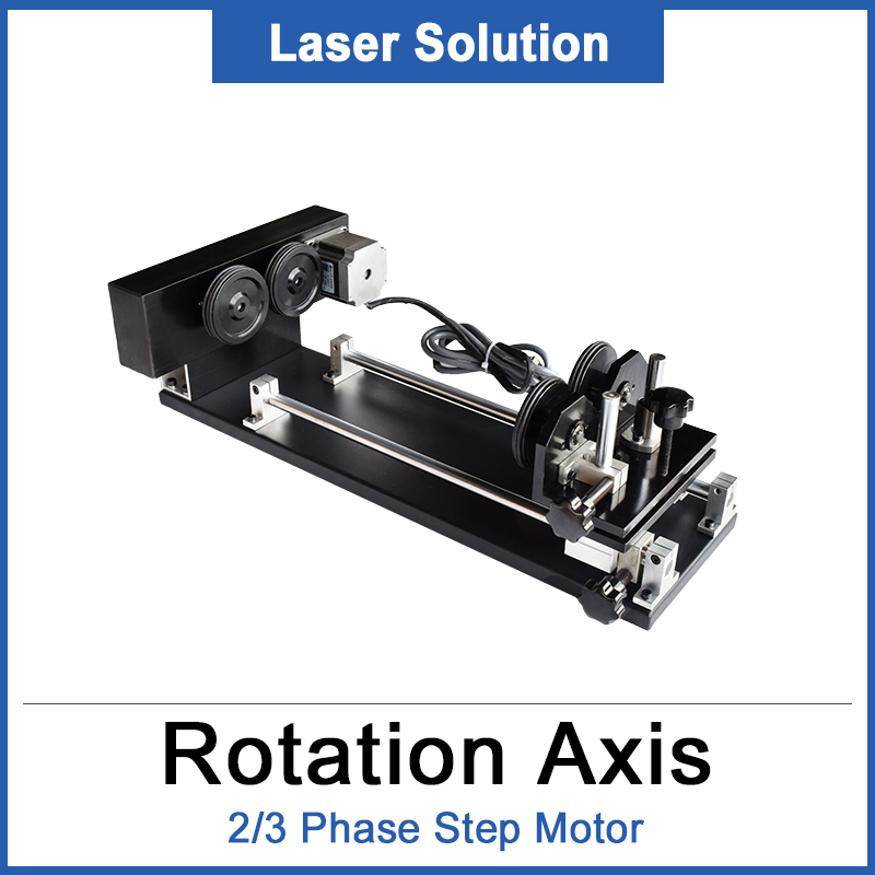 Rotation Axis Rotary Engraving Attachment With Wheels Rollers Stepper Motors For CO2 Laser Engraving Cutting Machine